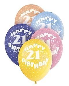 Unique Party Globos Perlados de Látex para Cumpleaños Happy 21st Birthday, 5 Unidades, 30 cm (80212) , Modelos/colores Surtidos, 1 Unidad