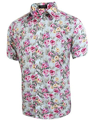 Coofandy Herren Sommer Hemd Kurzarm Hawaiihemd Hawaiishirt Freizeithemd Urlaub Hawaii-Print Hellblau