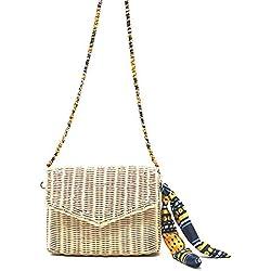 GAOQQ Rattan-Strohsack-Schulter-Strand-Beutel-Einfacher Sommer Europa und Die Vereinigten Staaten Freizeit-Küsten-Reise-Gesponnene Handtaschen,Beige