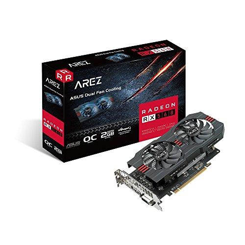 ASUS Radeon RX 560 OC - Tarjeta gráfica (2 GB, 14nm Polaris, 1024 Streams, 1210 MHz GPU) Color Negro