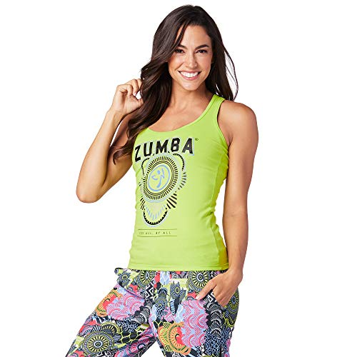 Zumba Damen Tank Top mit Grafikdesign, schlanker Passform, Damen, Women's Athletic Graphic Design Workout Racerback Tank Top, Zumba Green 2, Large