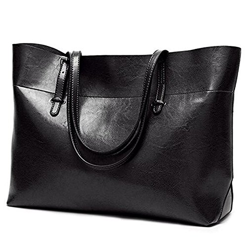 Leder Tasche für Frauen, große Pendeln Handtasche Umhängetasche Zipper Frauen Arbeit Umhängetasche Schwarz