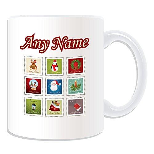 Tazza personalizzata regalo-Natale set di timbri, motivo: Buon Natale, bianco)-qualsiasi nome/messaggio sulla tua tazza unica-Renna pinguino corona candela lampada Babbo Natale etichetta sacco Snow Globe