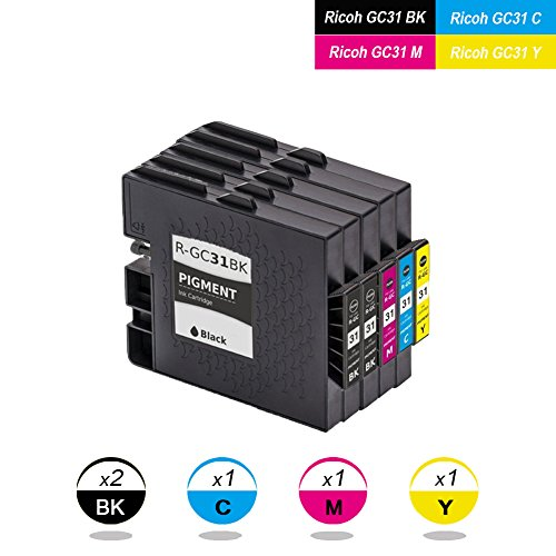 DOREE GC31 GC31K GC31C GC31M GC31Y (5-Stück Schwarz/Cyan/Magenta/Gelb)Tintenpatrone Kompatibel für RICOH GX-e7700/e5500/e3300/e2600 -
