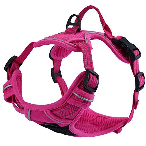 Louvra Arnés del Perro Collars de Perro 3M Reflectante, Tamaño L (65-77CM), Color Rosa