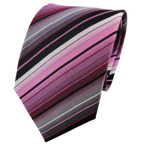 TigerTie Seidenkrawatte rosa flieder schwarz silber grau gestreift - Krawatte 100% Seide (Schwarz Und Rosa Krawatte)