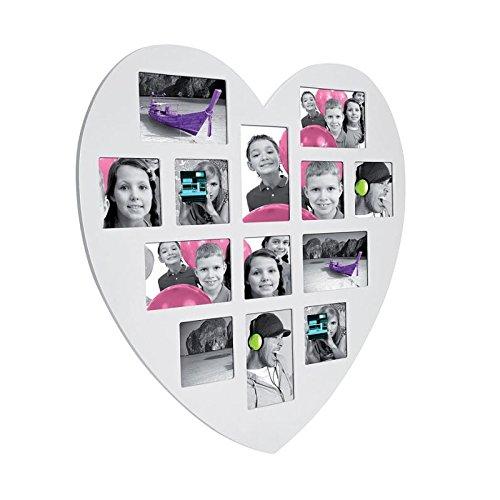 Cornice portafoto da parete a forma di cuore - multipla, effetto