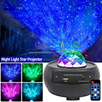 ‏‪Star Projector Night Light,Ganeed 2 in 1 Starry Projector w/LED Nebula Cloud with Remote Control& Built-in Music Player Ocean Wave Star Projector As Gifts Decor Birthday Party Wedding Bedroom Living‬‏