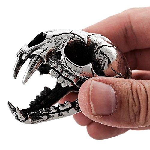 MENDINO–Vintage gran dinosaurio cráneo acero inoxidable tribal collar colgante con cadena de 22pulgadas