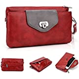 """'Kroo PocketBook transversal de las mujeres """"para Phablets, Smartphones compatible con ZTE Redbull V5V9180/Nubia Z5S mini NX405H, compatible con Apple iPhone 6, color rojo"""