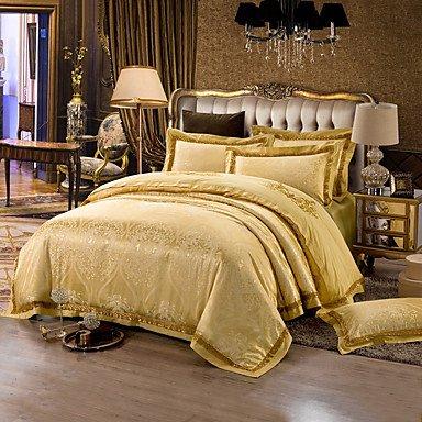 AIURLIFE Amarillo Queen King size camas lujo funda de algodón de seda edredón , queen