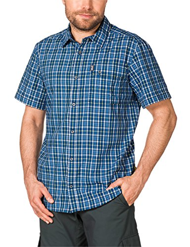 Jack Wolfskin Herren Hemd Crossley Shortsleeve Shirt- Moroccan Blue Checks