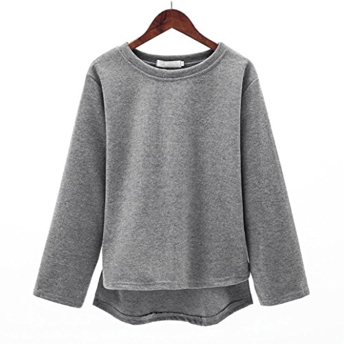 Pull Femmes Hiver HUHU833 Casual O-cou tricot chandail pullover à manches longues Sweater Gris
