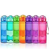 ZOUNICH Trinkflasche Sport BPA frei Kunststoff Sporttrinkflaschen für Kinder Schule, Joggen, Fahrrad, öffnen mit Einer Hand Trinkflaschen Filter, Rosa, 17oz/500ml