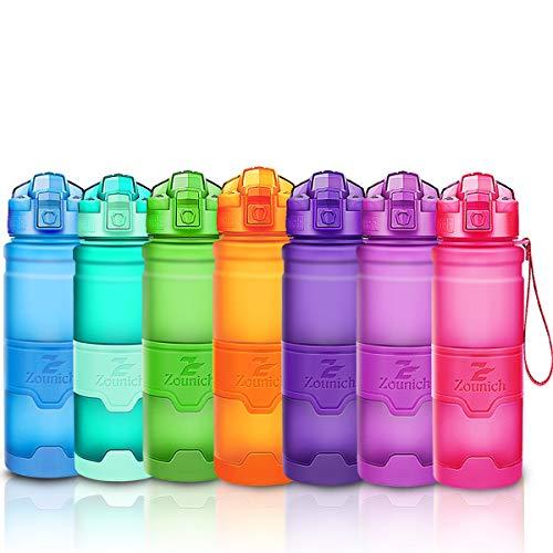 ZOUNICH Trinkflasche Sport BPA frei Kunststoff Sporttrinkflaschen für Kinder Schule, Joggen, Fahrrad, öffnen mit Einer Hand Trinkflaschen Filter, Rosa, 14oz/400ml
