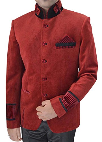 inmonarch Herren Rot Samt Nehru Jacke Patch Manschetten nj156 Gr. 44 Lang, rot (Kreuzfahrt-patch)
