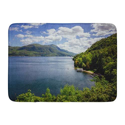 Soefipok Fußmatten Bad Teppiche Outdoor/Indoor Fußmatte blau Adirondack Lake George Bay rot schöne Bootshaus ruhig Klettern Badezimmer Dekor Teppich Badematte