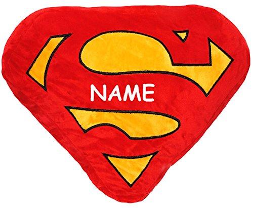 alles-meine.de GmbH großes Plüsch Kissen / Schmusekissen -  Logo Superman  - incl. Name - 48 cm * 33 cm - Kuschelkissen - groß - sehr weich - Reisekissen / Autokissen - Samtkis.. -