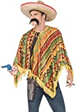 Smiffy's  Men's Poncho and Moustache kit, Western, Serious Fun, One Size, 43904