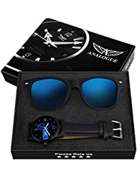 Analogue Analogue Black :Blue Dial Men's Watch & Wayfarer Sunglasses Combo - ANLG-173-21
