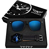 Analogue Blue Reflector Wayfarer Sunglasses + Blue Wrist Watch for Men's and Boy's (173-21)