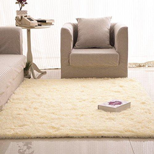 Creme Shag Teppich (RUG ZI LING Shop- Kinder Schlafzimmer Teppich Wohnzimmer Teppich Sofa Europa Prinzessin Rechteck Blended Teppich Lange Haare Grob Shag Teppich (Farbe : Creme Farben, größe : 160x200cm))