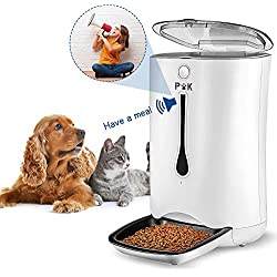 PUPPY KITTY 6.5L Distributeur de Croquettes pour Chats et Chiens Distributeur Automatique de Nourriture Enregistrement Vocal Programmable 4 Repas par Jour Blanc