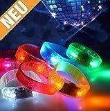 Neu, 2017 - 5er - Set - LED SOUND AKTIVIERTES ARMBAND - Armband mit Geräuschsensor, LED Armband, Musik Armband, Leuchtarmband, Party, Gadget, Perfekt für Parties, Clubs, Festivals oder einfach für Zuhause. Armband reagiert auf Töne. Blinkt zum Takt der Musik. Perfektes Geschenk