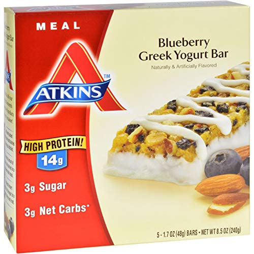 Atkins Advantage Bar, Blueberry Greek Yogurt, 5 Bars 1.7 Ounce by Atkins -