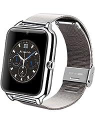 Aiwatch inoxidable Bluetooth Z50Reloj Inteligente GSM con cámara para iOS teléfono Mobile del Android, plateado