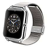 Reloj inteligente AIwatch Z50, inoxidable, con Bluetooth, GSM, cámara de fotos, compatible con smartphones iOS y Android, plateado