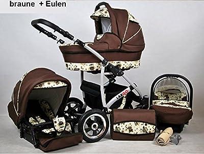 Kinderwagen Largo, 3 in 1- Set Wanne Buggy Babyschale Autositz (braun + eulen)