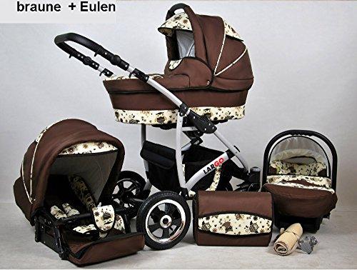 Kinderwagen Largo, 3 in 1- Set Wanne Buggy Babyschale Autositz (Brown Owl)