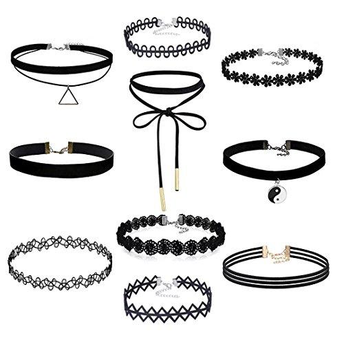 10pezzi Set collana girocollo per le donne, Stretch velluto nero in pelle PU adesivo Gotico Pizzo Collana