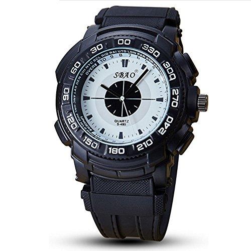Große Gesichts-Sportuhr für Männer, Wasserdichte Militärarmband-Quarz-Uhren im schwarzen Silikon-Band (Farbe : Weiß) (Weißes Gesicht, Schwarze Band-uhr)