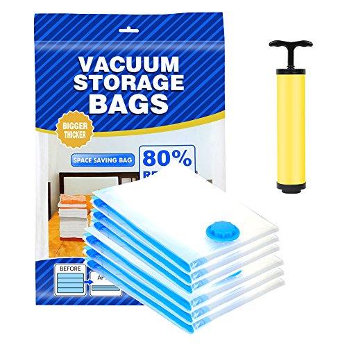 Bolsas de Vacío con Bomba, Impermeable, Perfecto para Guardar Ropa, Almohadas, alfombras ,Edredones, 6 Unidades Bolsas de Almacenamiento