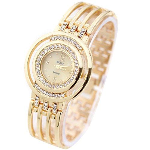 Preisvergleich Produktbild Hunpta Mode Armband Armbanduhr Runde Zifferblatt Armband Tabelle Damenuhren (Gold)