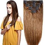 Clip in Extensions Set 100% Remy Echthaar 8 Teilig Haarverlängerung dick Dopplet Tressen Clip-In Hair Extension ( 35cm-120g,#6 hellbraun)
