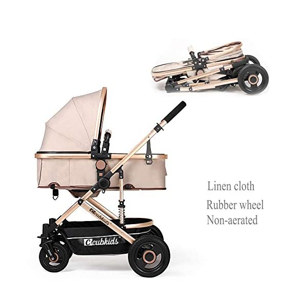 YSH Travel System Baby Stroller Pushchair High View Portable Baby Cart Suitable For Children From 0 To 36 Months /20KG,D-2 YSH Specifications - Stroller for children aged 0-3, standard load capacity 25 kg, maximum load capacity 50 kg, unfolded size 60 x 57 x 100 cm, folding size 80 x 50 x 62cm, net weight 8 kg Function - The stroller can take out the sleeping basket, fold easily, be smaller and easy to carry; adjustable backrest angle can sit or lie flat Features - Stroller can be folded quickly, capacity up to 50 kg / 110 lbs; with shock absorber system for smoother ride, adjustable backrest, comfortable ride, windproof, waterproof, all seasons 1
