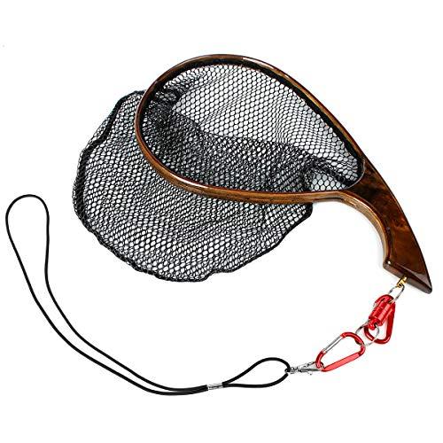 Yoomoo Fliegenfischen Forellennetz Fangnetz - handgefertigter Holzrahmen aus weichem Gummi, Gray - M - Size