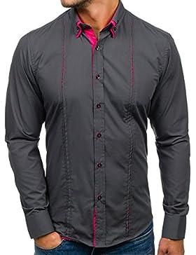 BOLF Hombres Camisa con mangas largas Camisa del ocio Slim Fit 4744