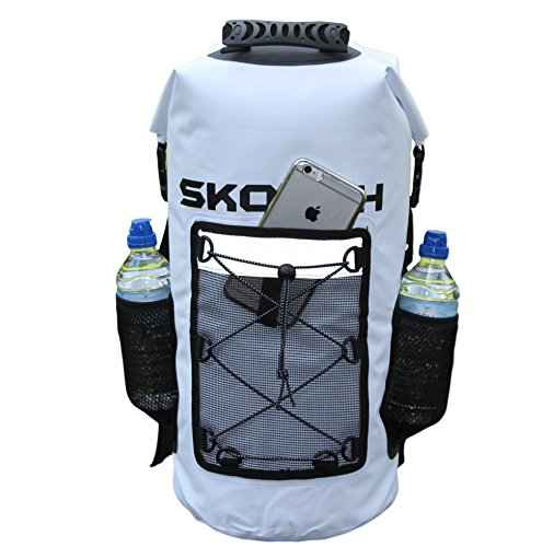skorch Wasserdicht Rucksäcke, trocken Taschen und Seesack, White 30L Waterproof Backpack with Pockets (Bow Purse Bag)