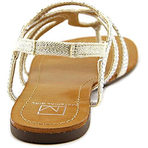 Material Girl Serena Offener Spitze Stoff Slingback Sandale Silver