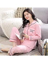 FERZA Home Pijamas de algodón de Manga Larga para Mujer, Traje de Dos Piezas de
