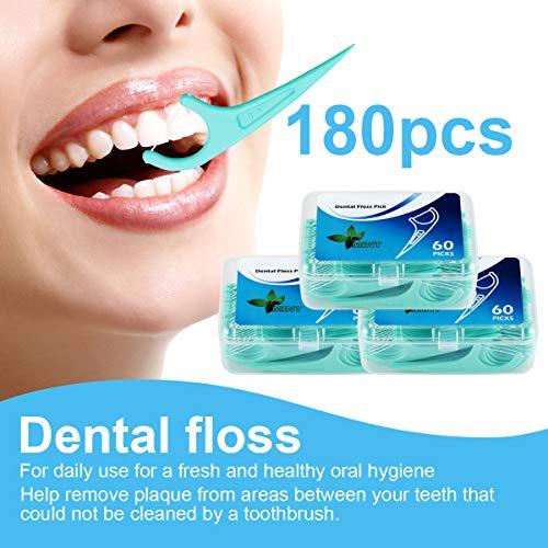 Hilo dental 180 Piezas, Palillos de hilo dental Plástico, hilo dental