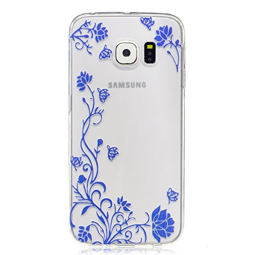 Samsung Galaxy S6 edge Hülle Case, Cozy Hut® [Flower Series] Ultra Dünn [Crystal Case] Transparent Soft-Flex Handyhülle / Bumper-Style Premium-TPU Silikon / Perfekte Passform / Kratzfest Schutzhülle für Samsung Galaxy S6 edge Case, Samsung Galaxy S6 edge Cover, Galaxy S6 edge Case, Galaxy S6 edge Cover, S6 edge Case, S6 edge Cover - Blaue Blume Reben