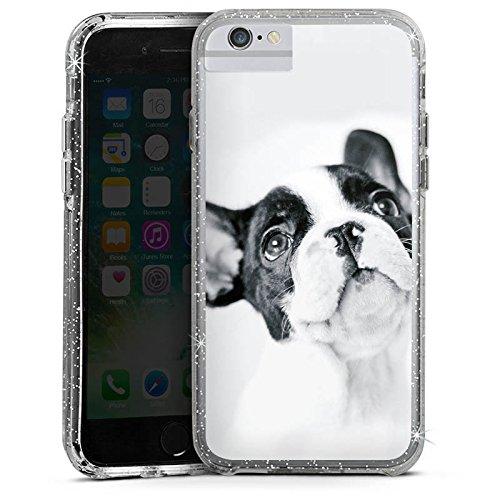 Apple iPhone 6 Bumper Hülle Bumper Case Glitzer Hülle Hund Bulldogge Dog Bumper Case Glitzer silber