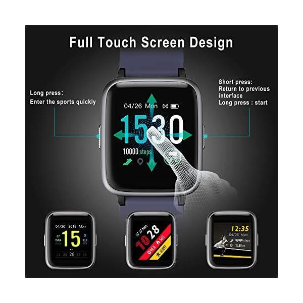Smartwatch, 5ATM Impermeable Reloj Inteligente Hombre Mujer, Pulsera Actividad Inteligente Reloj Deportivo Reloj Fitness con Pantalla Táctil Completa Pulsómetro Cronómetros para iPhone iOS Android 3