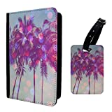 Accessories4Life Tropical Palm Trees Sunset Pink Luggage Tag & Passport Holder - S746