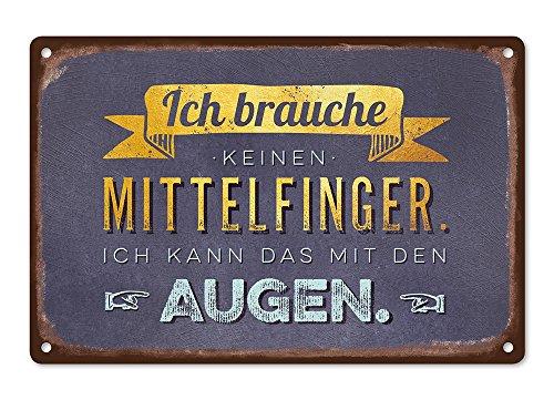 Grafik-Werkstatt Wand-Schild | Vintage-Art |Ich Brauche keinen Mittelfinger. Ich kann das mit den Augen | Retro | Nostalgic Deko | Blechschild, Metall, Uni, 30 x 20 cm